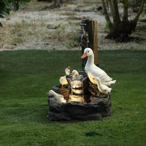 Resin Duck Family Outdoor Patio Fountain