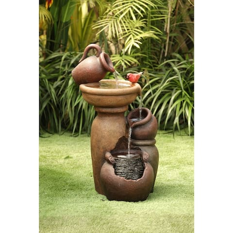 Cement/Resin Roma Pitcher and Pot Tiered Outdoor Patio Fountain