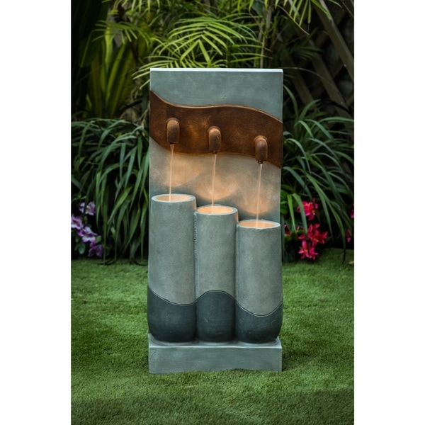 Cement Modern Pots Outdoor Patio Fountain with LED Light. Opens flyout.