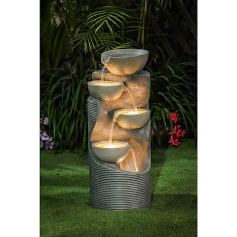 Resin Modern Tiered Bowls Outdoor Patio Fountain with LED Light