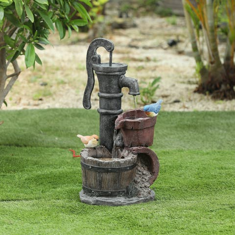 Cement Whiskey Barrels and Water Pump Outdoor Patio Fountain