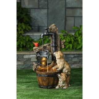 Resin Puppies and Water Pump Outdoor Patio Fountain with LED Light