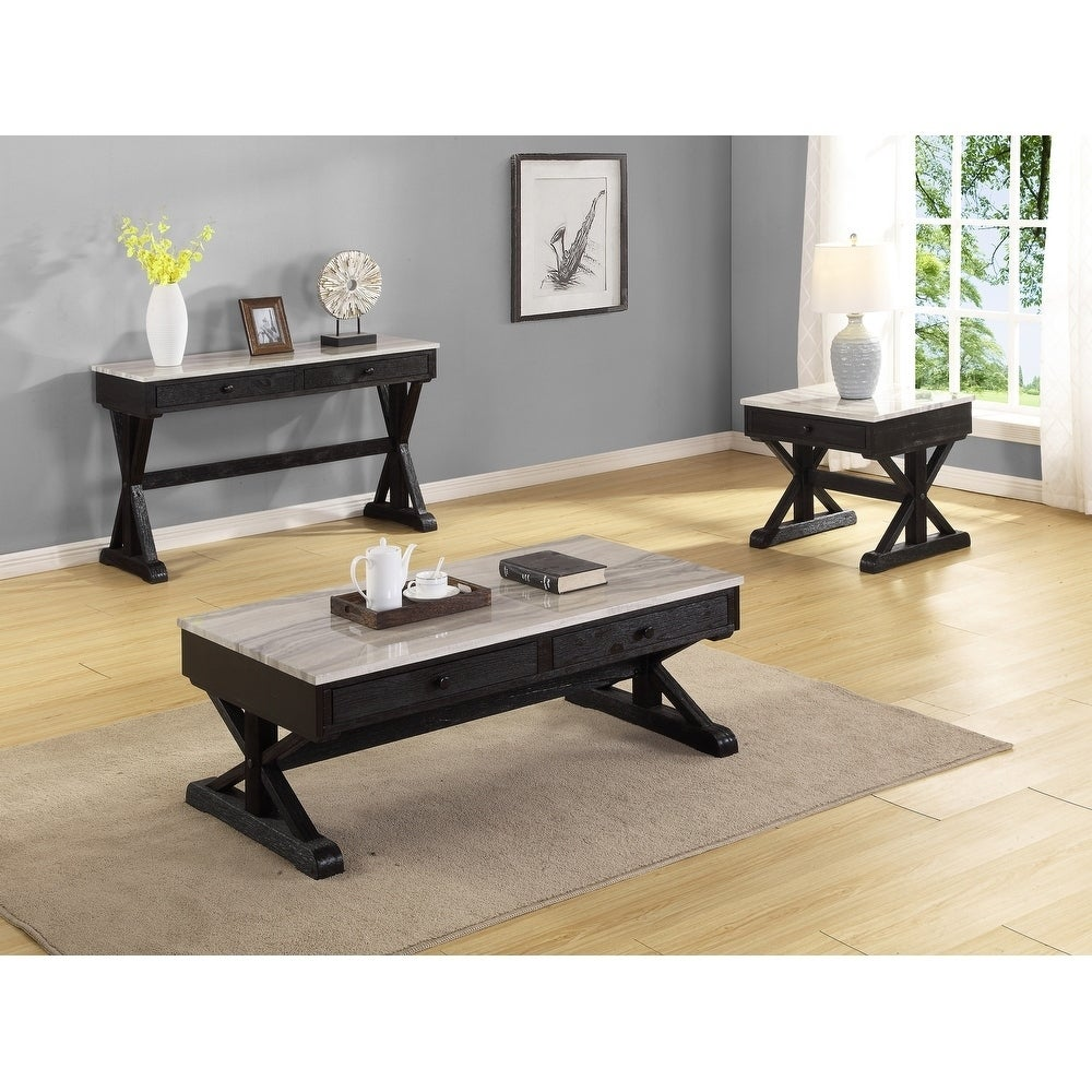 Best Quality Furniture 3 Piece Light Espresso Coffee Table Set W Faux Marble Table Top Overstock 28964803