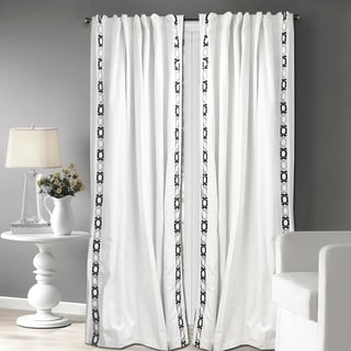 Link to Porch & Den Gettman White and Grey Cotton Embroidered Curtain Panel Similar Items in Curtains & Drapes