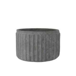 UTC53836: Cement Round Pot with Vertical Pressed Line Pattern Design Body SM Rough Finish Dark Gray