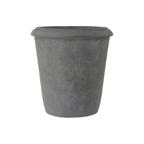 UTC53848: Terracotta Round Pot with Top Lip and Tapered Bottom LG Rough Finish Dark Gray