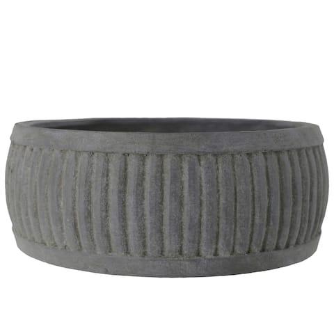 UTC53851: Terracotta Low Round Pot with Vertical Embossed Line Pattern Design Body Rough Finish Dark Gray