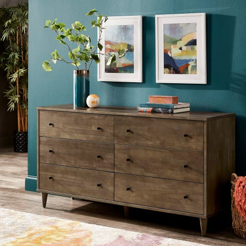 Strick & Bolton Vilas Light Charcoal 6-drawer Dresser