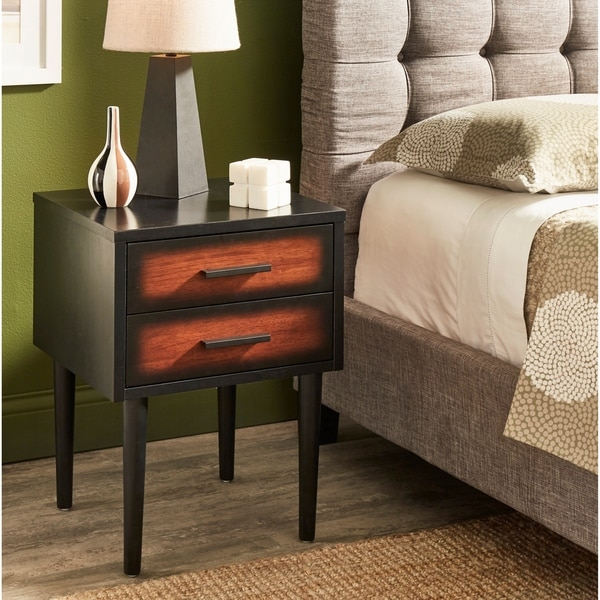 Carson Carrington Preston 2-drawer Cherry/ Black Mid-century Style Nightstand
