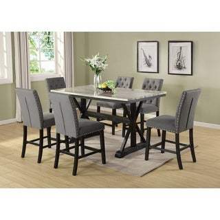 Best Quality Furniture Counter Height 7-Piece Dining Set w/ Faux Marble Table Top