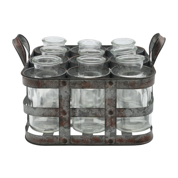 UTC51313: Metal Bud Vase Holder with Side Handles and 9 Clear Round Bottles Tarnished Finish Gray