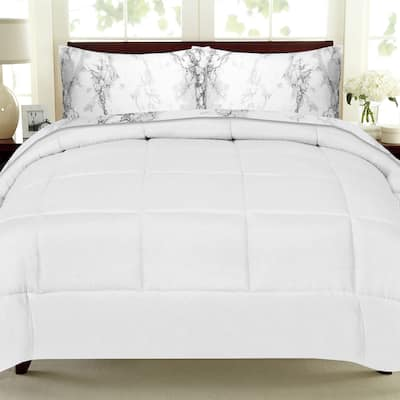 Porch & Den Moro Luxury 5-piece Bed-in-a-Bag Comforter and Marble Print Sheet Set