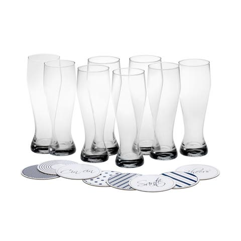Mikasa Cheers Wheat Beer Glass with Coasters, 22-Ounce, Set of 8