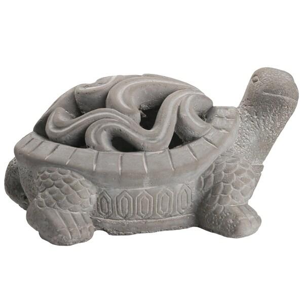 UTC28365: Terracotta Hollow Turtle Figurine with Floral Cutout Design Tortoiseshell Washed Finish Dark Gray