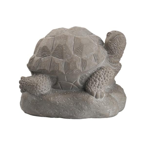 UTC28363: Terracotta Hollow Turtle Figurine Facing Upright on Base LG Washed Finish Dark Gray