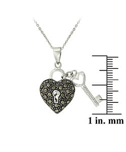 Glitzy Rocks Sterling Silver Marcasite Heart and Key Necklace - Thumbnail 2