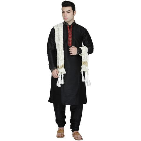 In-Sattva Men's Indian Three-Piece Ensemble Round Neck Pintucked Contrast Kurta Tunic Pajama
