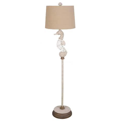 """Lamps Per Se 62.5"""" White Metal Seahorse Floor Lamp"""