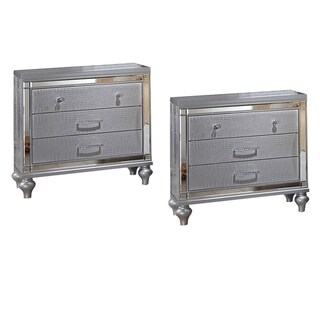 Home Source Regents Silver-finish 3-drawer Nightstand - Set of 2