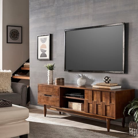 Carson Carrington Tessuto Tobacco Finish 70-inch Entertainment Center