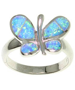 Carolina Glamour Collection Opal Butterfly Sterling Silver Ring