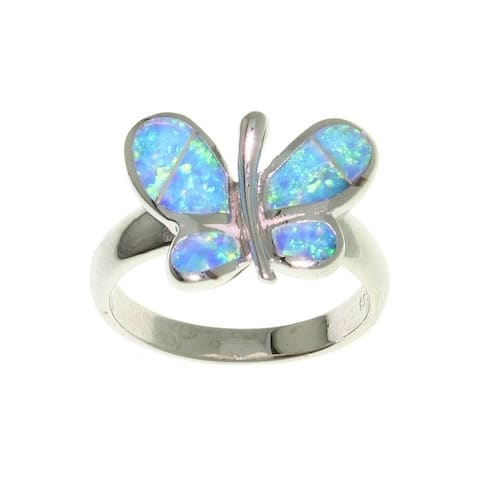 Opal Butterfly Sterling Silver Ring