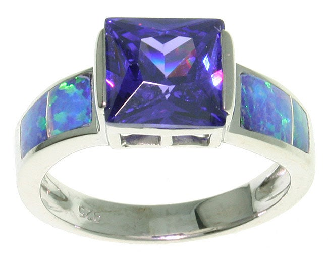 Carolina Glamour Collection Sterling Silver Large CZ Created Opal Ring