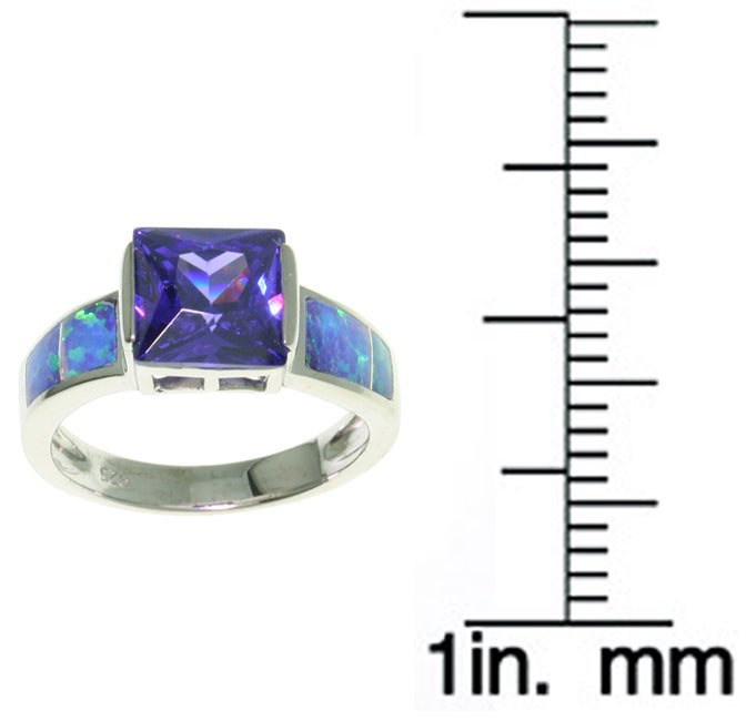 Carolina Glamour Collection Sterling Silver Large CZ Created Opal Ring - Thumbnail 1