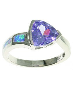 Carolina Glamour Collection Sterling Silver Purple Cubic Zirconia Ring