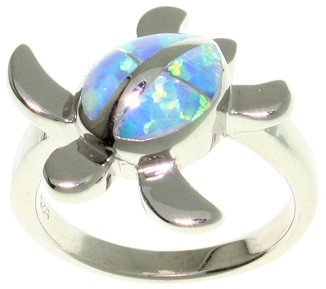 Carolina Glamour Collection Sterling Silver Created Opal Turtle Ring