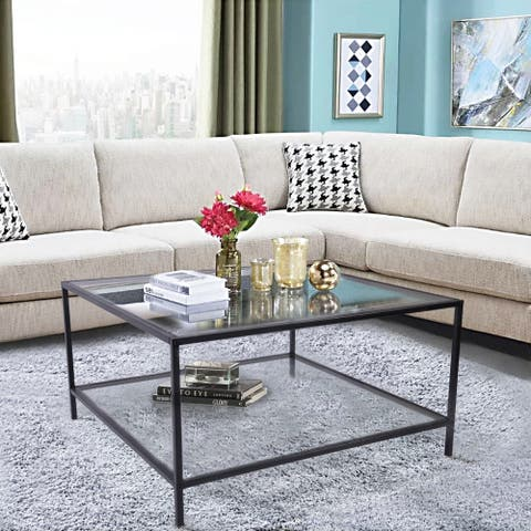Silver Orchid Caprice Square Glass Coffee Table