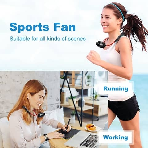 Portable USB Fan Rechargeable Handheld Neckband Fan Mini Fan 3 Speed Adjustable Wearable Sports Fan