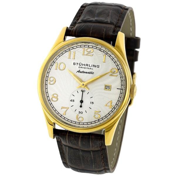 Stuhrling Men's 'Cuvette' Goldtone Automatic Watch