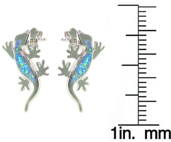 Carolina Glamour Collection Sterling Silver Created Opal Gecko Earrings