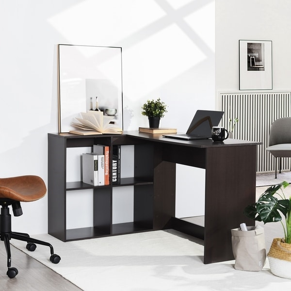 Copper Grove Huissen L-shaped 4-shelf Home Office Desk