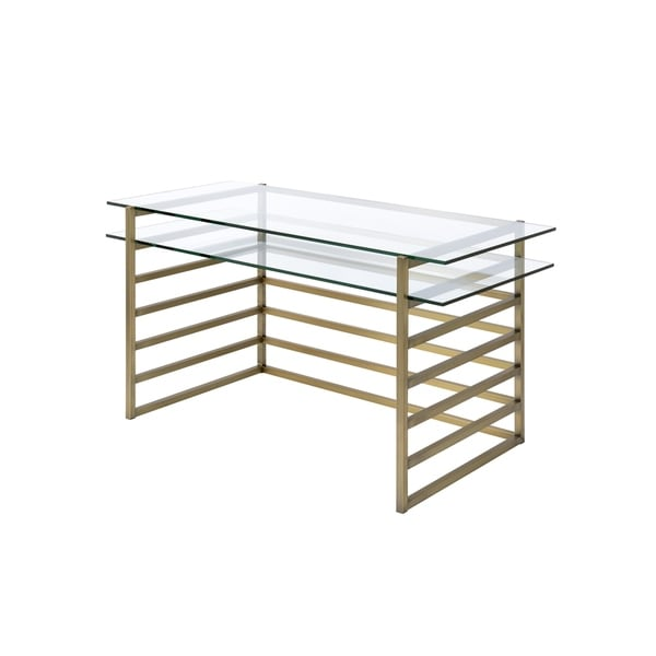 Slatted Design Metal Desk with Glass Shelf and Glass Top, Gold and Clear