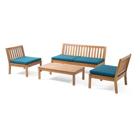 Caswell Outdoor Acacia Wood Chat Set with Coffee Table by Christopher Knight Home