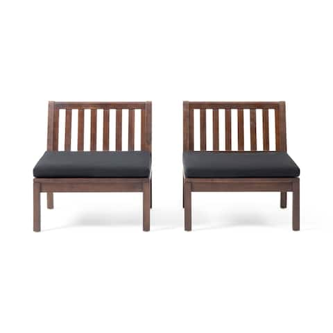 Caswell Outdoor Acacia Wood Club Chair with Cushion (Set of 2) by Christopher Knight Home