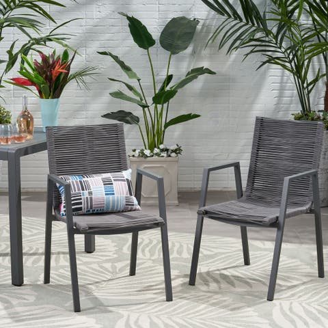 Deloris Outdoor Modern Aluminum Dining Chair with Rope Seat (Set of 2) by Christopher Knight Home