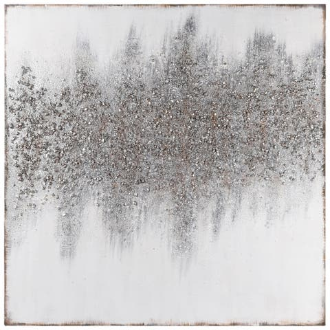 Silver Dust Abstract Textured Metallic Hand Painted Wall Art