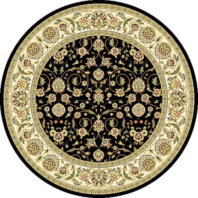Lyndhurst Collection Traditional Black/ Ivory Rug (5 3 Round)