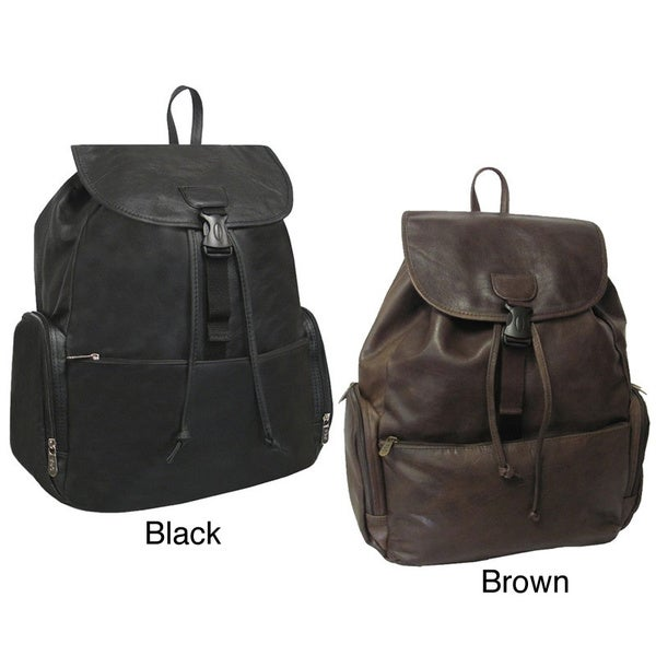 Amerileather Jumbo Leather Backpack with Adjustable Shoulder ...