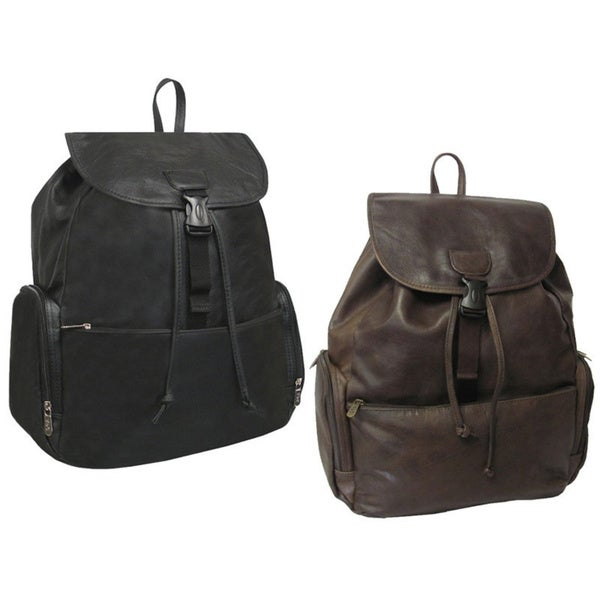 Amerileather Jumbo Leather Backpack with Adjustable Shoulder Straps