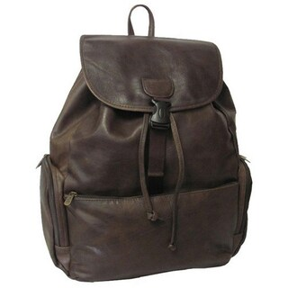 Amerileather Jumbo Leather Backpack with Adjustable Shoulder Straps (Option: Dark Brown)