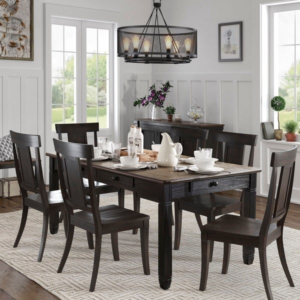 Eleanor Brown and Antique Black Finish Dining Set by iNSPIRE Q Classic
