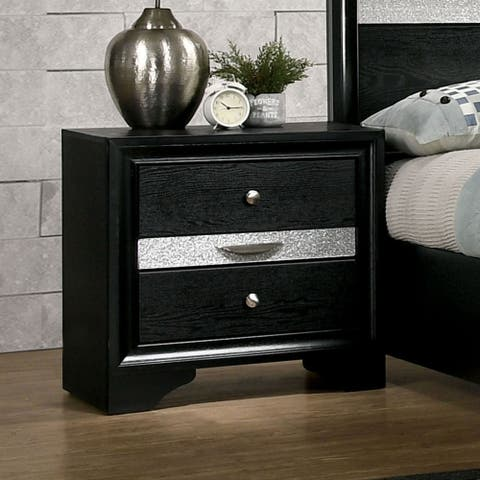 Silver Orchid Aoki Contemporary Black 3-drawer Nighstand