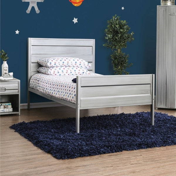 Taylor & Olive Torenia Twin Hand-brushed Silver Panel Bed