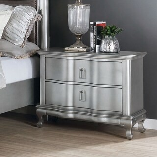 Silver Orchid Arlen Transitional Silver 2-drawer Nightstand