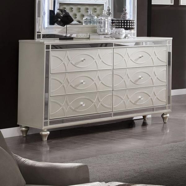 Silver Orchid Amann Transitional Silver 6-drawer Dresser