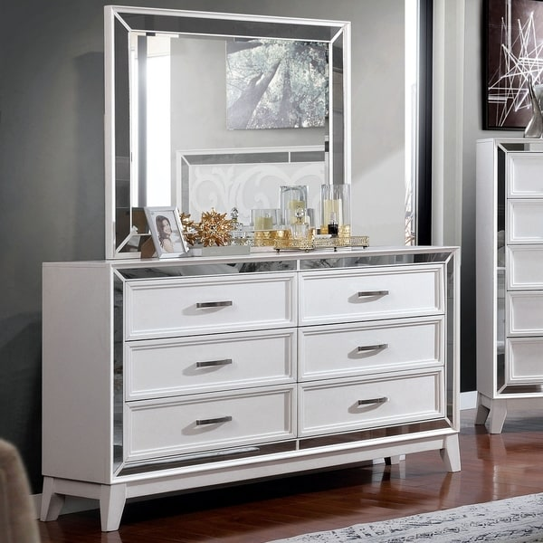 Silver Orchid Arnold Transitional White 6-drawer Dresser